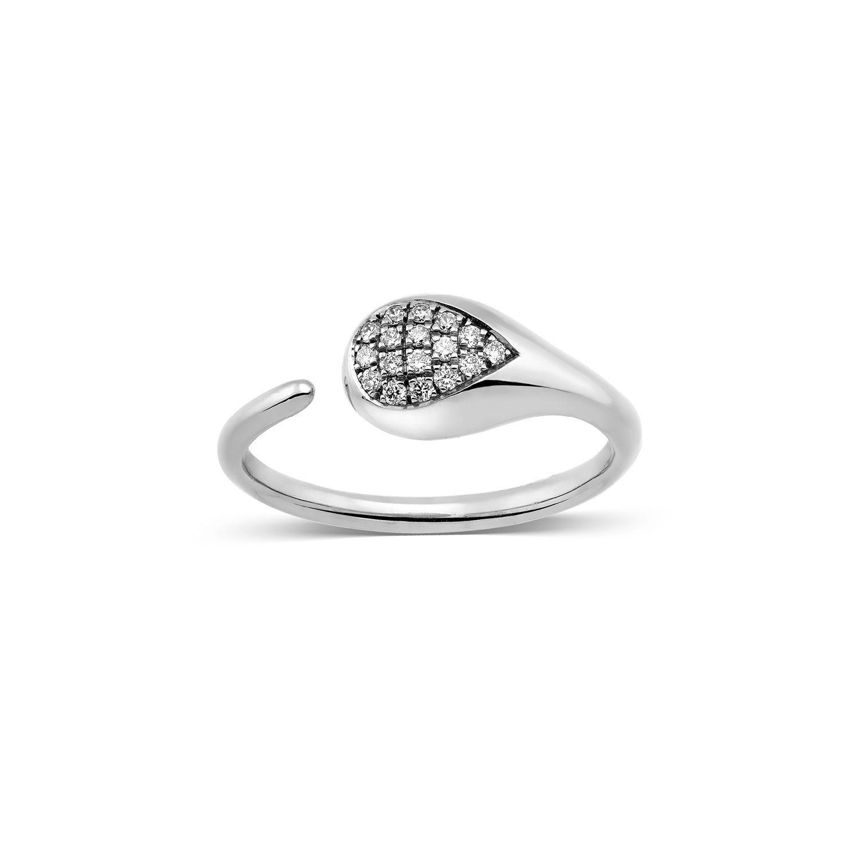 Δαχτυλίδι Mamba από λευκό χρυσό 18K με διαμάντια μπριγιάν