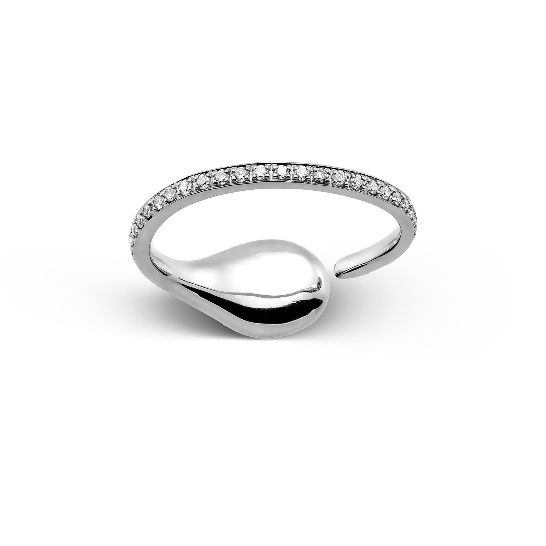 Δαχτυλίδι Mamba από λευκό χρυσό 18K με διαμάντι pear και διαμάντια μπριγιάν