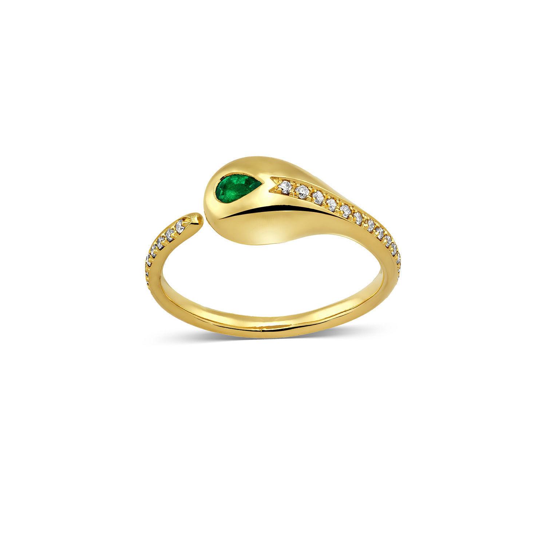 Δαχτυλίδι Mamba από χρυσό 18K με σμαράγδι pear και διαμάντια μπριγιάν
