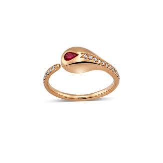 Δαχτυλίδι Mamba από ροζ χρυσό 18K με ρουμπίνι pear και διαμάντια μπριγιάν