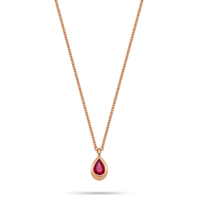 Κολιέ Mamba από ροζ χρυσό 18K με ρουμπίνι pear