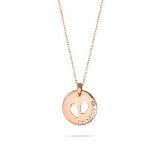 Μενταγιόν Symbols Πατουσάκια από ροζ χρυσό 18Κ με διαμάντι μπριγιάν