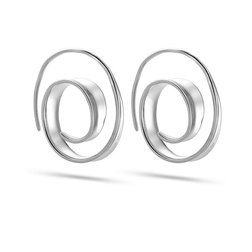 Σκουλαρίκια κρίκοι Reflections από επιροδιωμένο ασήμι 925°
