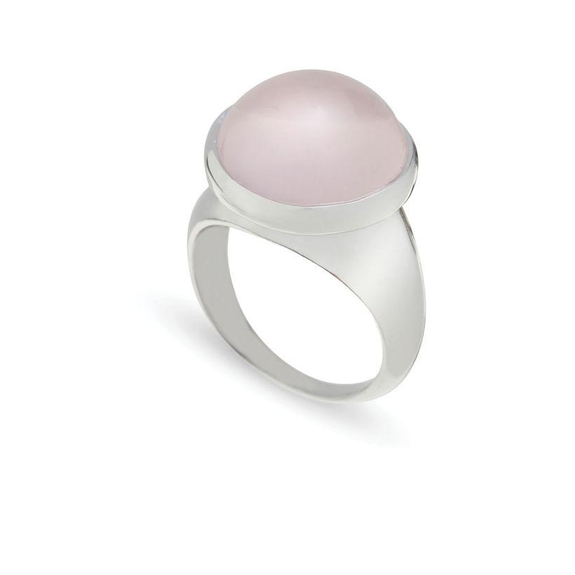Δαχτυλίδι Chevalier από επιροδιωμένο ασήμι 925° με pink quartz