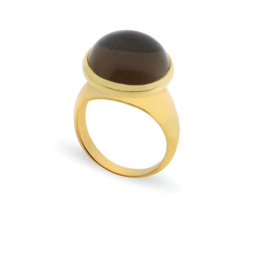 Δαχτυλίδι Chevalier από επιχρυσωμένο ασήμι 925° με smoky quartz