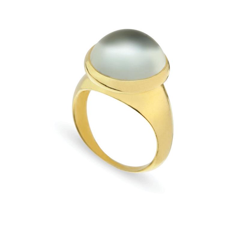 Δαχτυλίδι Chevalier από επιχρυσωμένο ασήμι 925° με πρασιολίτη