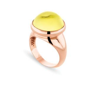Δαχτυλίδι Chevalier από ροζ επιχρυσωμένο ασήμι 925° με lemon quartz