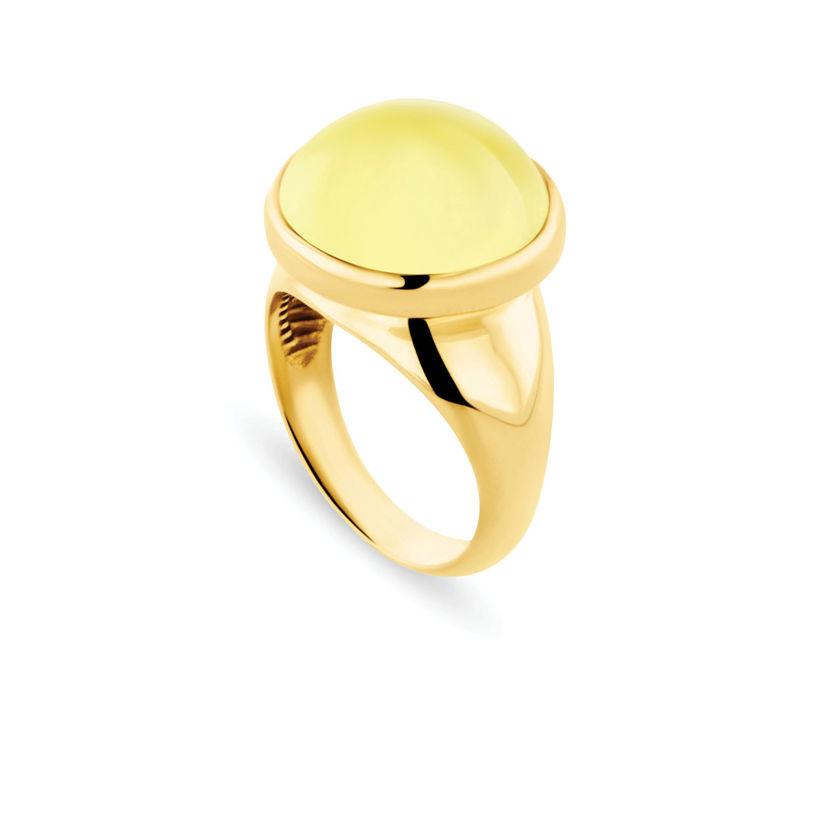 Δαχτυλίδι Chevalier από επιχρυσωμένο ασήμι 925° με lemon quartz