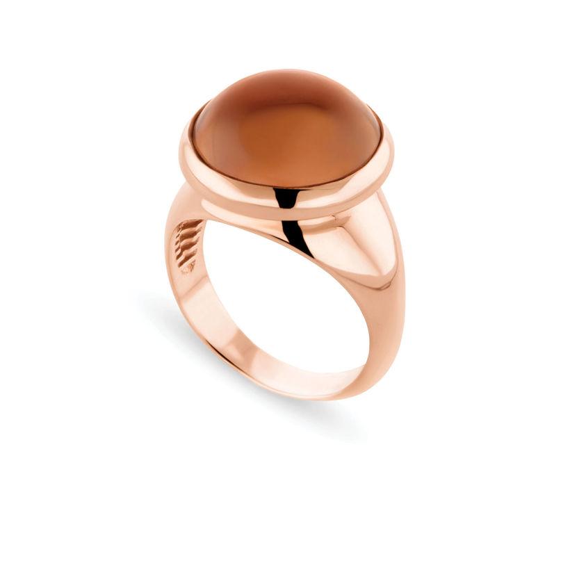 Δαχτυλίδι Chevalier από ροζ επιχρυσωμένο ασήμι 925° με smoky quartz