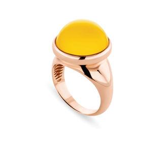 Δαχτυλίδι Chevalier από ροζ επιχρυσωμένο ασήμι 925° με κίτρινο όνυχα