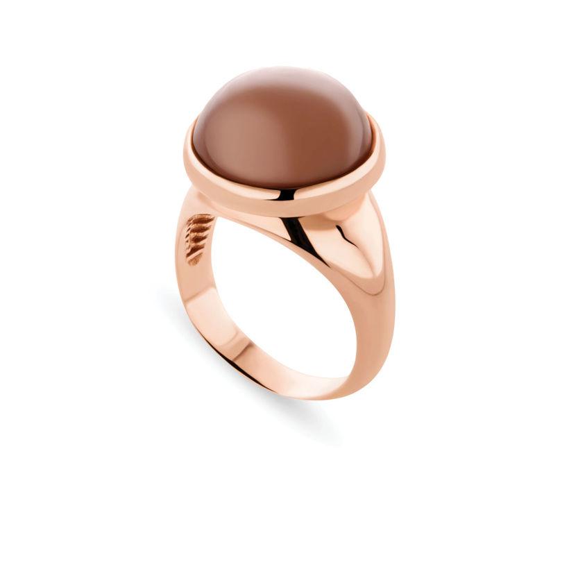 Δαχτυλίδι Chevalier από ροζ επιχρυσωμένο ασήμι 925° με light brown moonstone