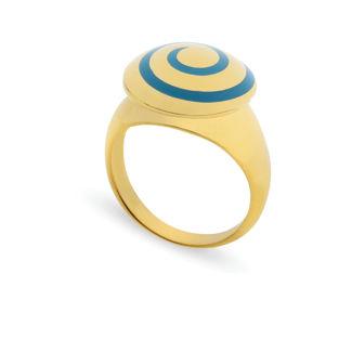 Δαχτυλίδι Chevalier από επιχρυσωμένο ασήμι 925° με γαλάζιο σμάλτο