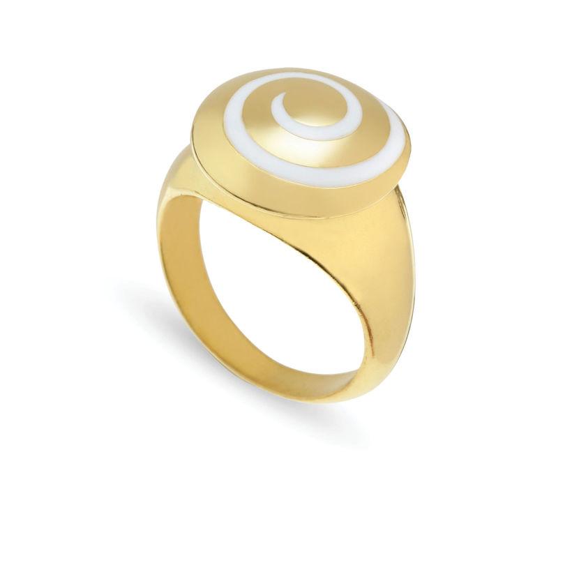 Δαχτυλίδι Chevalier από επιχρυσωμένο ασήμι 925° με λευκό σμάλτο