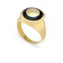 Δαχτυλίδι Chevalier από επιχρυσωμένο ασήμι 925° με μαύρο σμάλτο