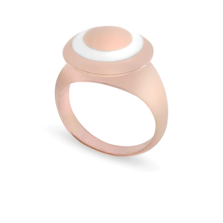 Δαχτυλίδι Chevalier από ροζ επιχρυσωμένο ασήμι 925° με λευκό σμάλτο