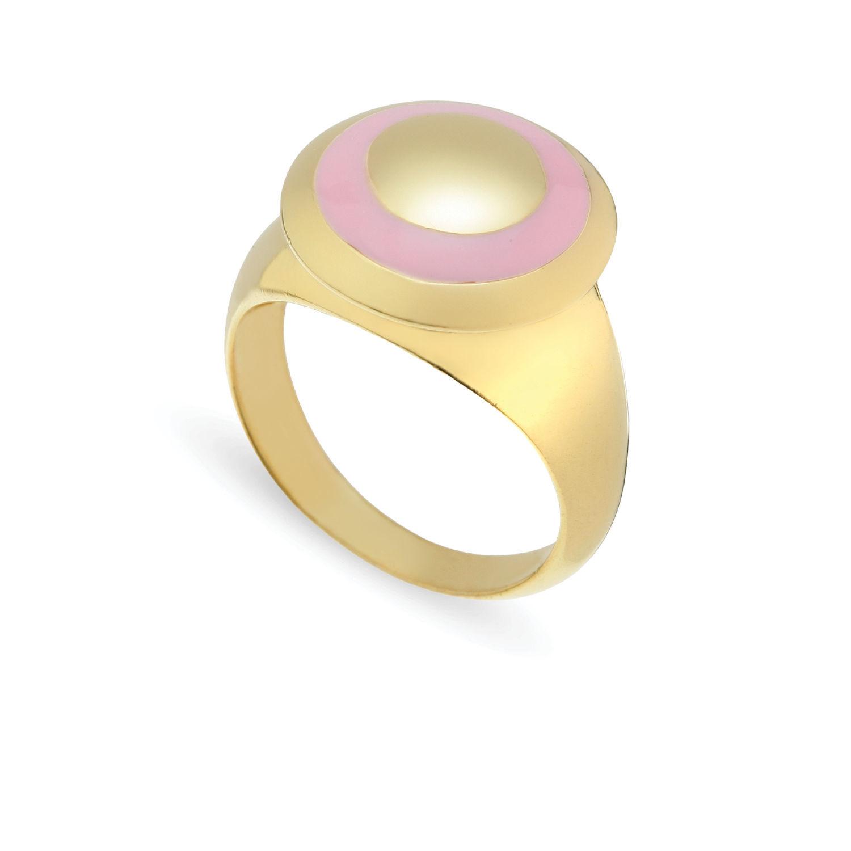 Δαχτυλίδι Chevalier από επιχρυσωμένο ασήμι 925° με ροζ σμάλτο