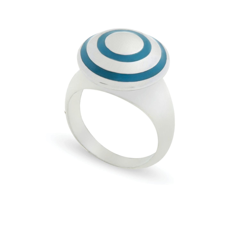 Δαχτυλίδι Chevalier από επιροδιωμένο ασήμι 925° με γαλάζιο σμάλτο