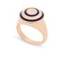 Δαχτυλίδι Chevalier από ροζ επιχρυσωμένο ασήμι 925° με μπλε σμάλτο
