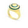 Δαχτυλίδι Chevalier από επιχρυσωμένο ασήμι 925° με πράσινο σμάλτο