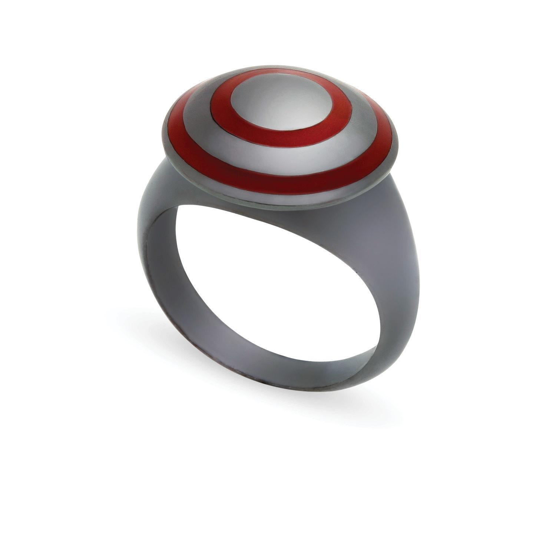 Δαχτυλίδι Chevalier από μαύρο επιροδιωμένο ασήμι 925° με κόκκινο σμάλτο
