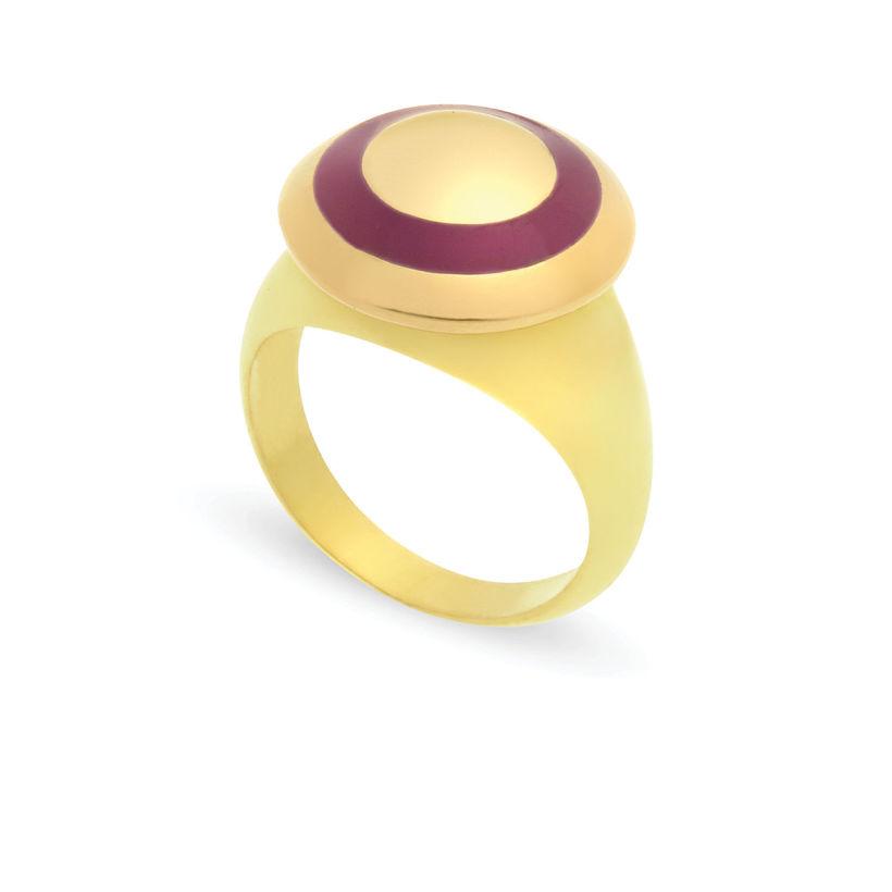 Δαχτυλίδι Chevalier από επιχρυσωμένο ασήμι 925° με μωβ σμάλτο