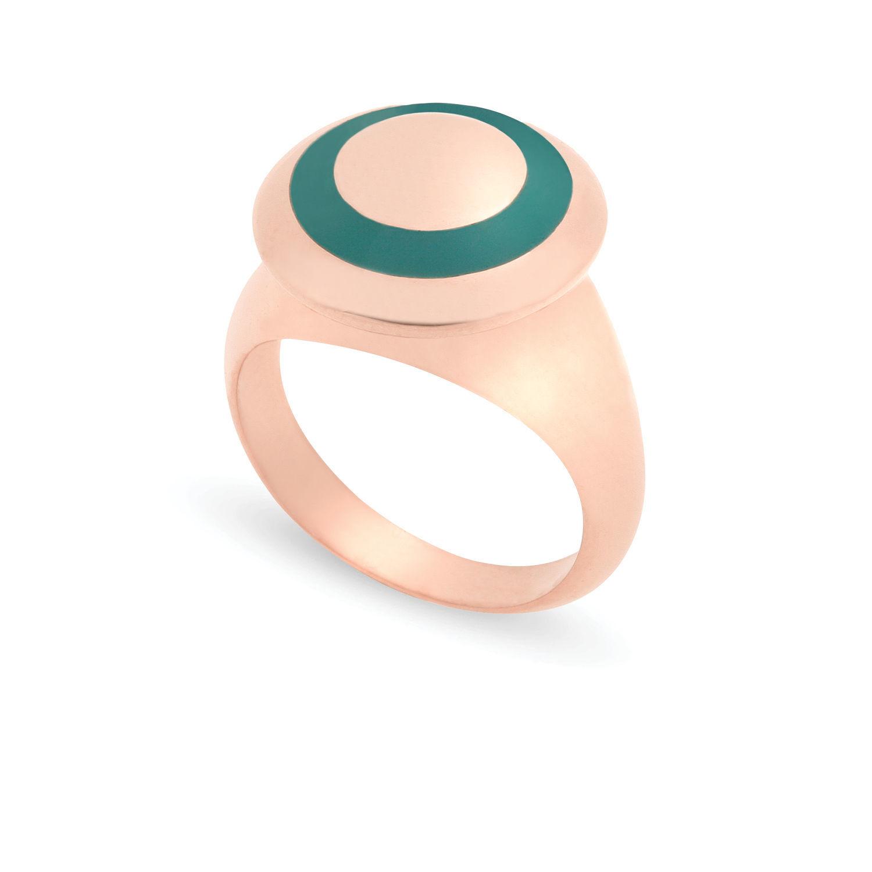 Δαχτυλίδι Chevalier από ροζ επιχρυσωμένο ασήμι 925° με πράσινο σμάλτο