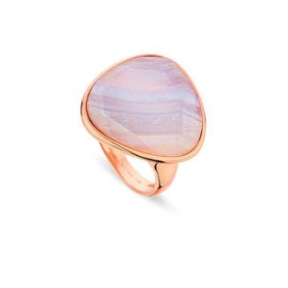 Δαχτυλίδι Mosaic από ροζ επιχρυσωμένο ασήμι 925° με ροζ αχάτη