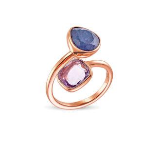 Δαχτυλίδι Mosaic από ροζ επιχρυσωμένο ασήμι 925° με αβεντουρίνη και αμέθυστο