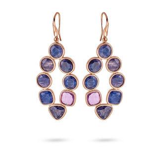Σκουλαρίκια Mosaic από ροζ επιχρυσωμένο ασήμι 925° με αβεντουρίνη και αμέθυστο