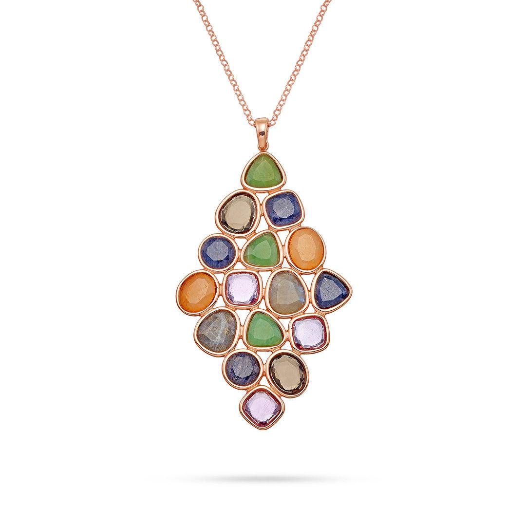 Κολιέ Mosaic από ροζ επιχρυσωμένο ασήμι 925° με αμέθυστο, αβεντουρίνη, λαμπραντορίτη και smoky quartz