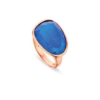 Δαχτυλίδι Mosaic από ροζ επιχρυσωμένο ασήμι 925° με μπλε αχάτη
