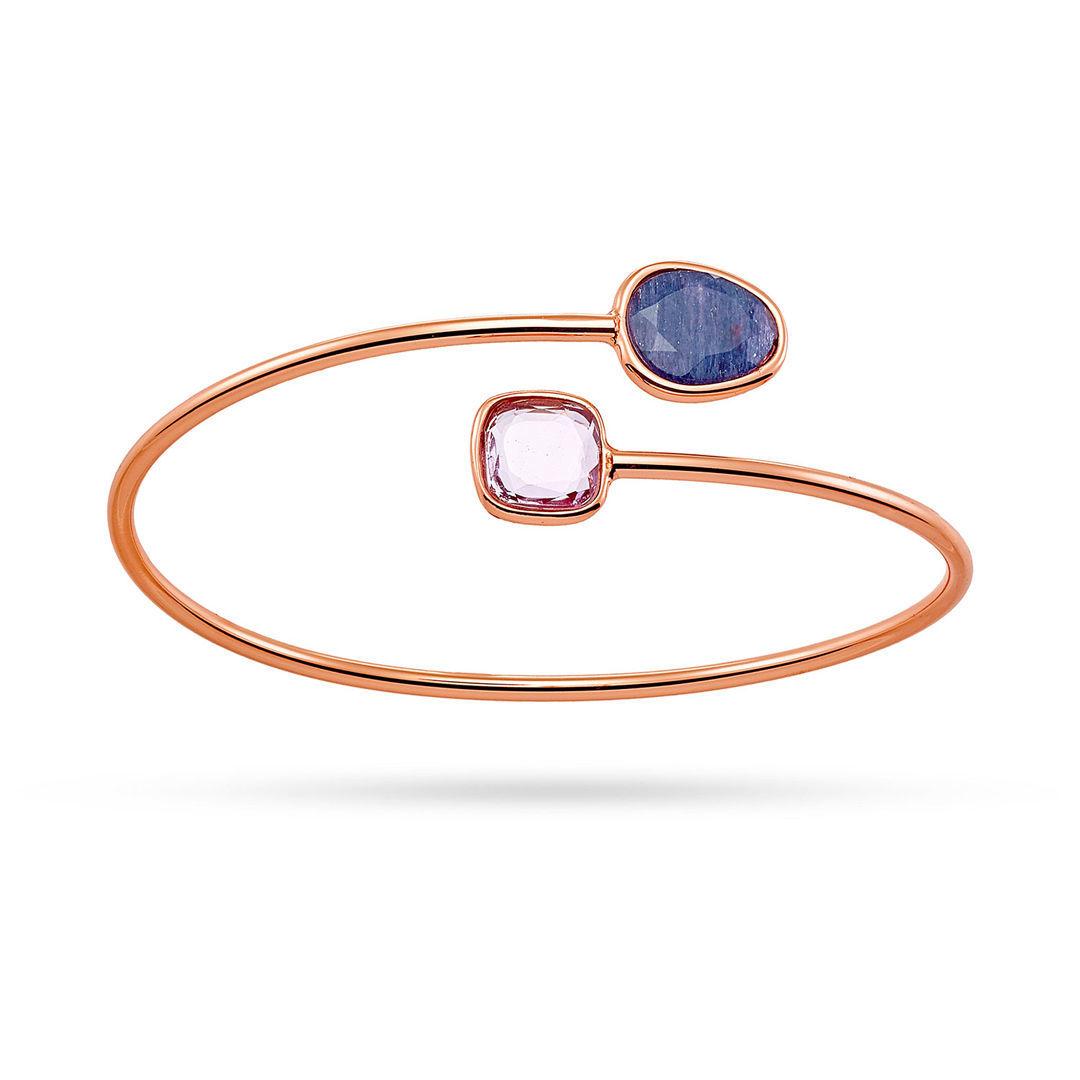 Βραχιόλι Mosaic από ροζ επιχρυσωμένο ασήμι 925° με αβεντουρίνη και αμέθυστο
