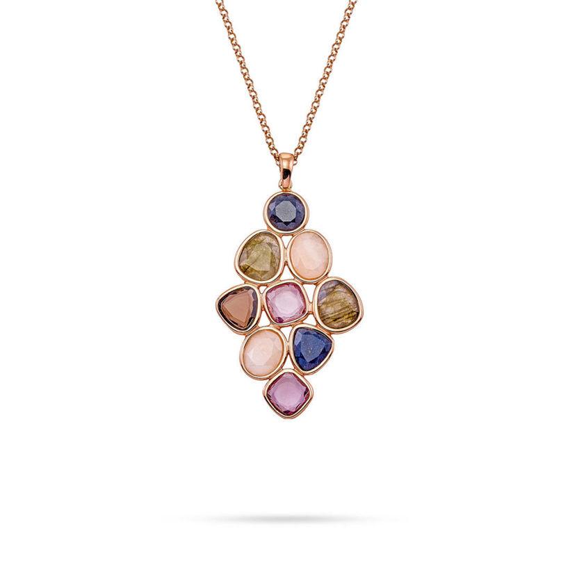 Κολιέ Mosaic από ροζ επιχρυσωμένο ασήμι 925° με αβεντουρίνη, αμέθυστο, λαμπραντορίτη και smoky quartz