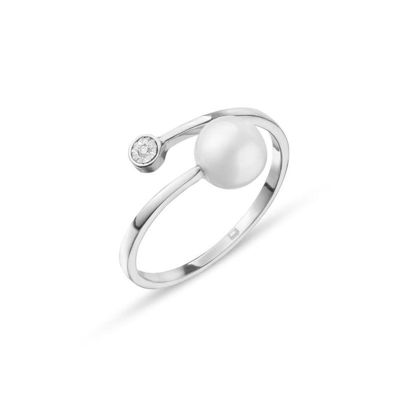 Δαχτυλίδι Pearls από λευκό χρυσό 18Κ με freshwater pearl και  διαμάντι μπριγιάν