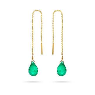 Σκουλαρίκια Mini Drops από χρυσό 18K με πράσινο όνυχα