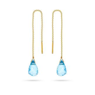 Σκουλαρίκια Mini Drops από χρυσό 18K με blue topaz