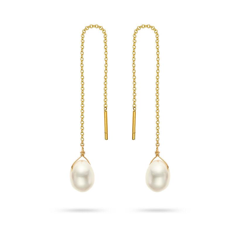 Σκουλαρίκια Mini Drops από χρυσό 18K με freshwater pearl