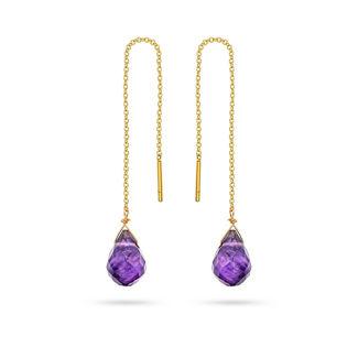 Σκουλαρίκια Mini Drops από χρυσό 18K με αμέθυστο
