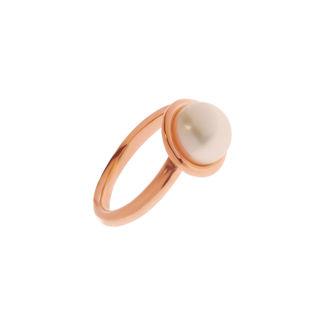 Δαχτυλίδι από ροζ επιχρυσωμένο ασήμι 925° με freshwater pearl